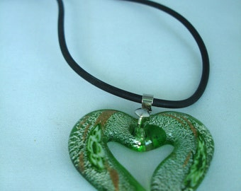 Green Murano Glass Pendant Necklace - Black Rubber Cord - Single Heart Pendant Necklace - Extension Chain