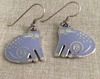 "Vintage Rare ""Lavender"" Kershire Cats ~ Silver Tone Dangle Pierced Earrings"