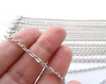 """12 Lobster Clasp Link Chain Necklaces 18"""" Silver Tone - CHN44"""