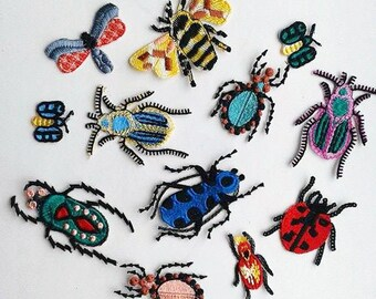 Moks13(p) Set 12 pieces Styled Bugs Insects Embroidery Patches Set