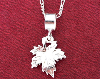 Canadian Maple Leaf Pendant ~ Solid 925 Sterling Silver Pendant & Necklace