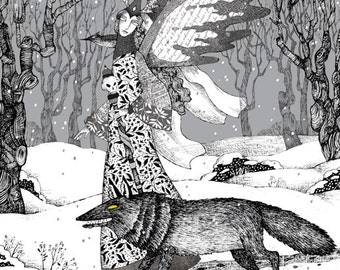 "Enchantress - Fits 16""x 20"" Mat - Limited Edition Giclee Print - Fantasy - Black & White Art - Black Wolf and Black Bird Winter Solstice"