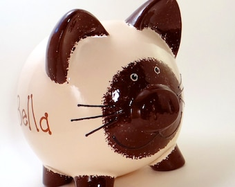 Siamese Kitty Piggy Bank - Personalized Piggy Bank - Kitten Bank - Seal Point Siamese Cat Bank - Cat Lovers Gift - with hole or NO hole