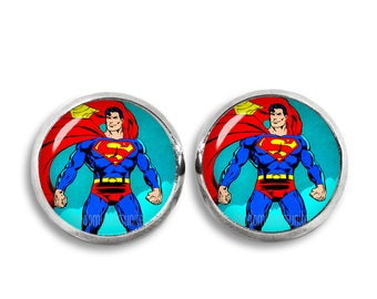 Superman Stud Earrings 12 mm Superman Comic Stud Earrings Superhero Earrings Comic Lovers Fandom Jewelry Cosplay Fangirl Fanboy