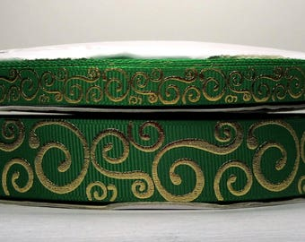 """2 or More Yards 3/8"""" or 7/8"""" Emerald - Kelly Green with Gold Foil Scroll - Swirl Print Grosgrain Ribbon - U.S. Designer"""