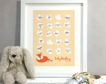 Fox Woodland Shower Guest Book Alternative, Animal Baby Shower Decoration Sign, Personalised Print Poster, Baby Girl Baby Boy (unframed)