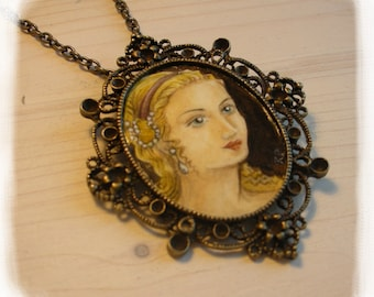 WOMAN..original painting necklace.... Handpainted Vintage Style Frame ..victorian..  black..