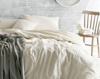 Cream linen duvet cover, Ivory Cream Bedding, Natural Linen, Queen, King, California King, Twin or Custom Size