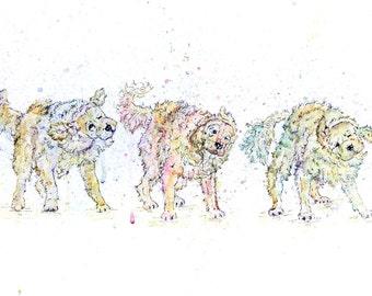 Golden Retriever art, golden retriever painting, unique dog art, dog shaking, gifts for dog lovers, golden retriever gifts, watercolour dog