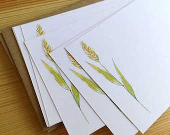 Watercolor Flat Note Stationery Set - Personalized Wildflower Stationery - Grass Note Cards - Watercolor Botanical Note Cards - Set of 8