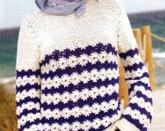 Woman in white and blue crochet sweater / / custom