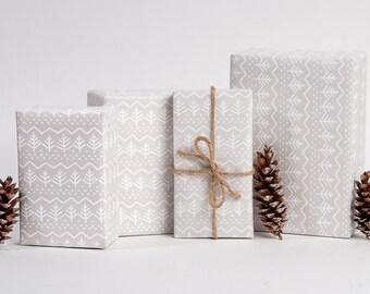 Pine Tree Gift Wrap / White on White / 3 Sheets