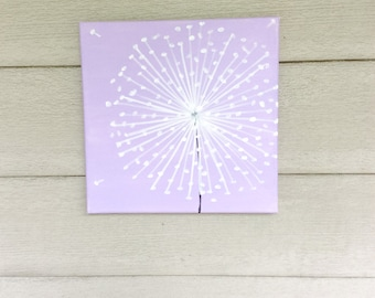 Dandelion Painting-Dandelion Art-Nursery Wall Art-Nursery Decor -Whimsical Painting-Nursery Art-Lavender -12x12