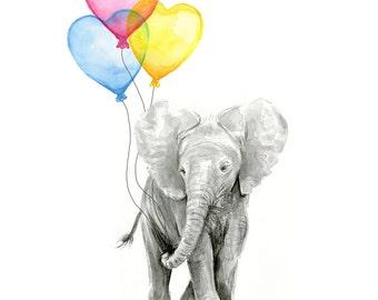 Elephant Baby Nursery Art Print, Elephant Watercolor, Rainbow Nursery, Baby Elephant Balloons, Nursery Decor, Girls and Boys Room Wall Art