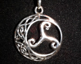 Sterling Silver Celtic Knot Work Moon with Triskelion Pendant