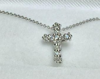 Petite White Gold Elegant Diamond Cross