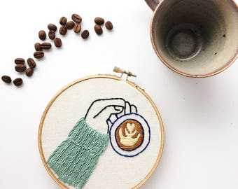 Hand Embroidery | Coffee Embroidery Hoop Art | Coffee Lover | Coffee Sign | Kitchen Wall Art