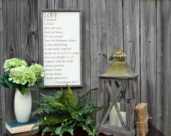 Love is Patient, Love is Kind. 1 Corinthians 13:4-7 Farmhouse Wood Sign. Rustic Sign