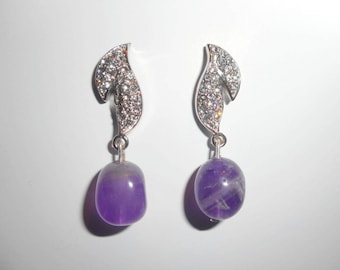 "Earrings ""Glam Night"" - Amethyst, Crystal, Sterling Silver Rhodium"