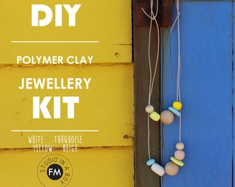 DIY Polymer Clay Jewellery Kit - Polymer clay necklaces - Handmade - White, Beige, Yellow & Turquoise Colourway