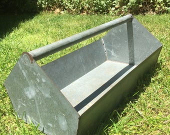 Galvanized Carry-all Tool Caddy Carrier Primitive Industrial Farm Country Rustic