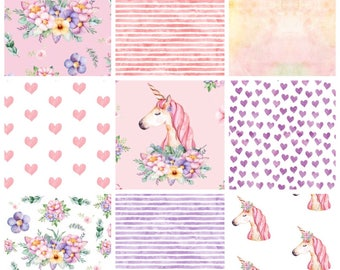 Custom unicorn pink and lilac watercolor baby girl bedding, patchwork quilt blanket