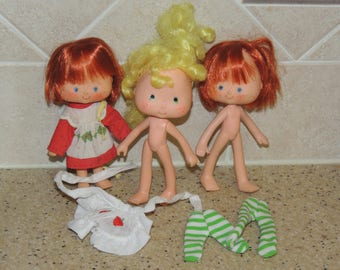 3 1980s Strawberry Shortcake Dolls and Extras