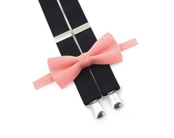 Boys birthday outfit Coral bow tie & Black suspenders toddler suspenders bow tie