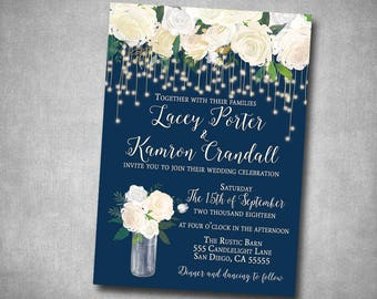 Wedding Invitation White Cream Navy String Lights Floral Roses Rustic Natural Country String Lights Printable or Printed I customize it!