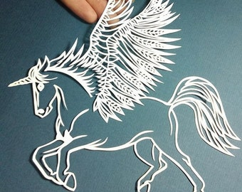 Unicorn, winged horse, pegasus, papercut template PDF download PERSONAL USE, horses, cut your own, craft, paper art, equine art, unique art