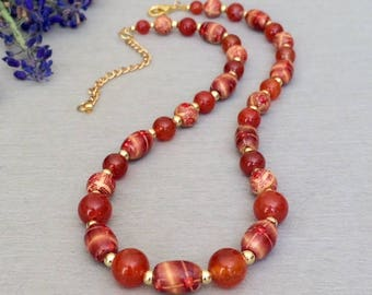 Fire Red Agate Bead Necklace Beaded Agate Stone Necklace Gemstone Bead Necklace Gemstone Jewelry Birthday Anniversary Gift Wife Mom Her