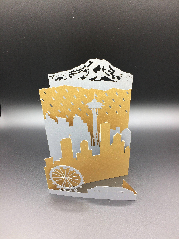 Seattle greeting card w envelope space needle mount rainier kristyandbryce Choice Image