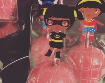Girl Super Hero Themed Chocolate Covered Apples