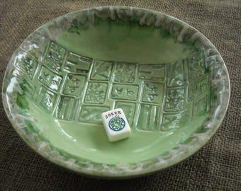 Vaisselle de Mahjong Mahjong bol - Mahjong vert poterie - Mahjong cadeau - bol Oriental - céramique vert - idée cadeau-