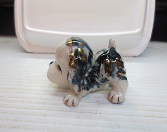 Precious Mini Puppy Glazed In Blue With Gold Overlay Japan