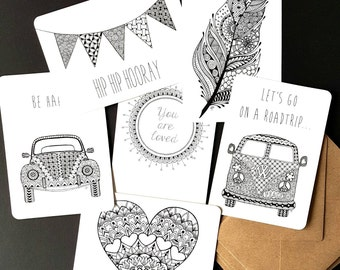 Set of six postcards with original designs of MBGcreative