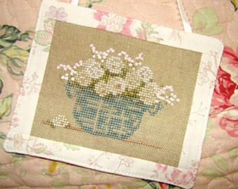 White Roses Flower Bouquet Cross Stitch PDF Pattern