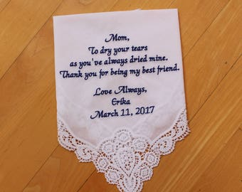 Mother of the Bride Handkerchief from the Bride-EMBROIDERED Wedding Hankies,Mother of the Bride Gift.LS0F23SV111