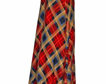 Maxi Skirt. 80s Plaid Skirt. Red Black Blue Brown.  Low  Waist Skirt. Size Medium. Mad Men Fashion.