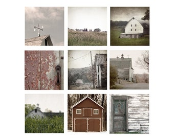 Barn Photography, Set of 9 prints, Country Chic Home Decor Set, farmhouse, rustic wall decor, rustic farmhouse decor, set of 9 photos