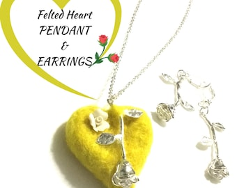 Felted Heart Pendant and Earring Set, Designer Jewellery Gift, Hand Crafted Gift,On Trend Gift, Stylish One of a Kind Gift for Her