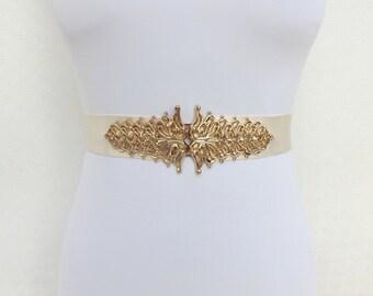 Ivory elastic waist belt. Gold filigree buckle. Bridal belt. Wide belt. Ivory dress belt.