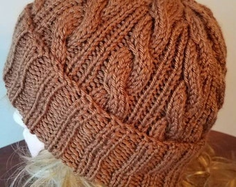 Milk Chocolate / Toast Color Cable Hand-Knit Hat. Super soft, for men or women- Ready to be Shipped