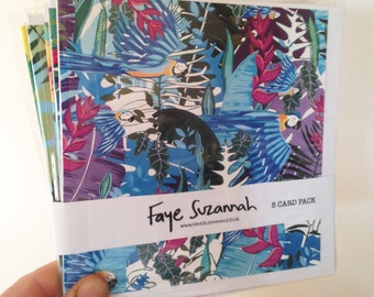 """pack of 5 """"Tropical"""" design blank greetings cards"""