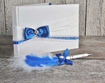Blue and white wedding guest book with stylo set, Satin and lace guestbook, Blue wedding guest book set, Unlined guestbook, Something blue,