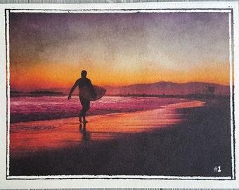 Venice Beach Print Set - California Wall Decor- Beach-Sunset-Surfer- Palm Trees - printed on beautiful textured watercolor paper