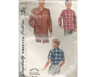 1950s Boys Shirt Pattern Simplicity 4100 Childrens Size 6 Chest 24 Plaid Shirt Tuck In Leave Out Pocket Option Vintage Sewing Pattern