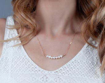 Rose Gold Pearl Necklace, Dainty Pearl Necklace, Bridal Necklace, Bridesmaid Jewelry, Minimal Pearl Necklace, Bride Necklace, Silver, Gold