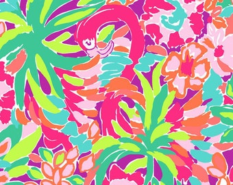 Cotton poplin Multi Lulu fabric  9 X 18 inches or 18 X 18 inches ~ Lilly Pulitzer  for Garnet Hill~
