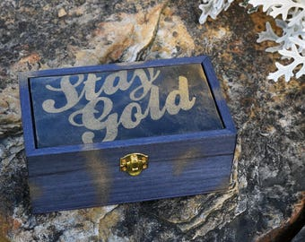Stay Gold Polymer Clay and Wooden Keepsake Box